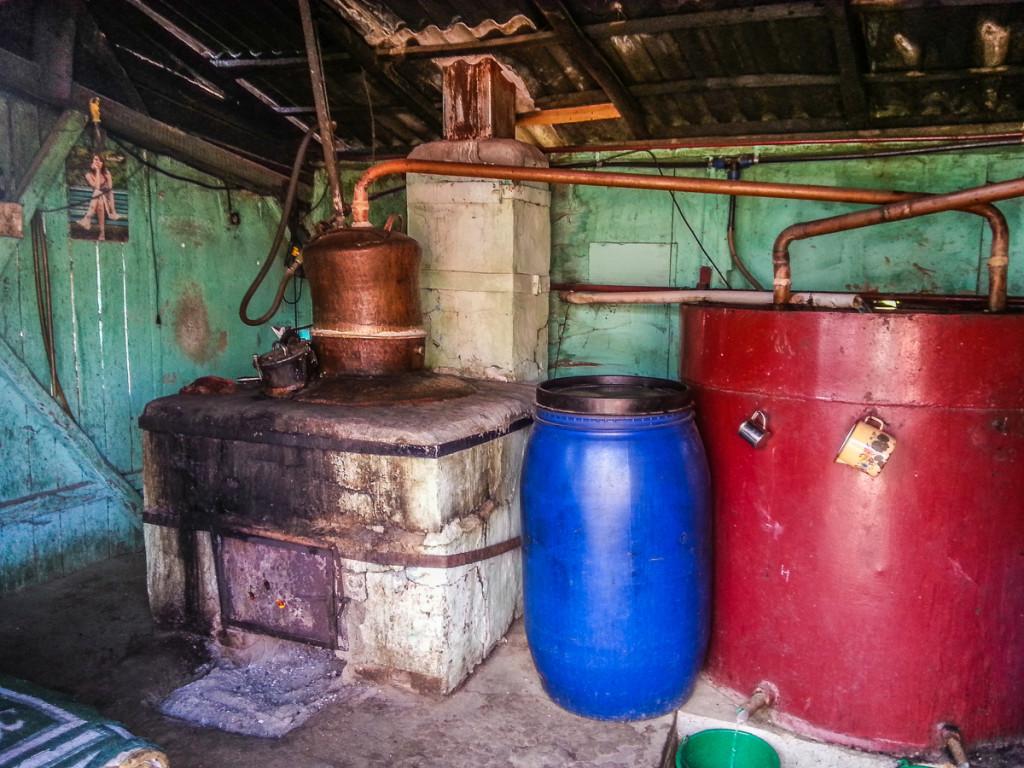 Plum brandy distilery in Romania